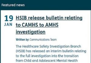 HSIB news release relating to CAMHS to AMHS