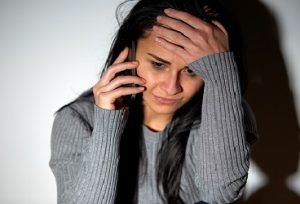 stressed girl on phone